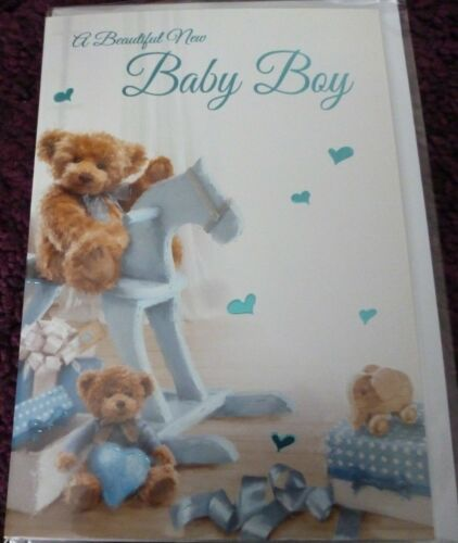 A BEAUTIFUL NEW BABY BOY CARD*ROCKING HORSE DESIGN*GREETING*BLUE