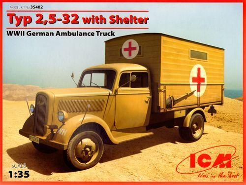 ICM 1  35 Opel Blitz Typ 2,5 -32 w  skyddsrum WWWII Tyska ambulanser
