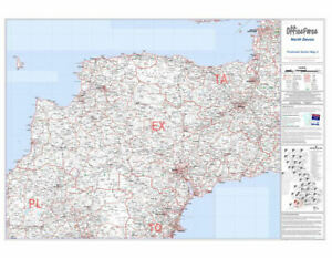 Map Of England Poster.Details About Postcode Map Of North Devon England Uk Large Laminated Wall Poster Maps 73x107cm