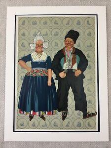 1932 Antique Print Dutch Dress Costume Ice Skating Children Chromolithograph