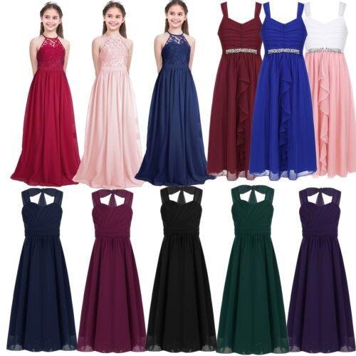 Girl Long Dress Wedding Evening Gown Ball Party Bridesmaid Formal Prom Dresses