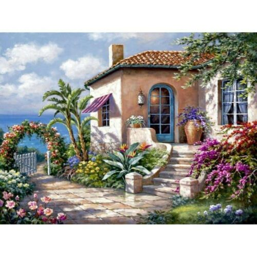 DIY Full Drill 5D Diamond-Painting House With Embroidery Decors Mural Garden