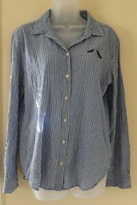 Ann-Taylor-Loft-Button-Down-Medium-Blue-and-White-stripe-w-bird-applique