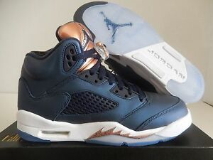 NIKE AIR JORDAN 5 RETRO BG BLUE-BRONZE OLYMPIC SZ 4Y-WOMENS SZ 5.5 [440888-416]