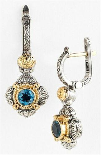 Woman 925 Silver 18K Gold Plated Sapphire Retro Hoop Earrings Party Drop Dangle