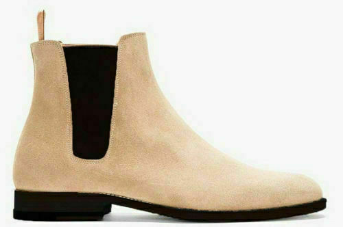botas para Hombre Genuino Beige Gamuza Hecho a Mano Tobillo Chelsea Jumper Elegante Jodhpur Zapato