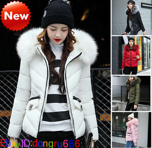 New Girl Women's Down Cotton Parka Short Fur Collar Hooded Coat Quilted Jacket
