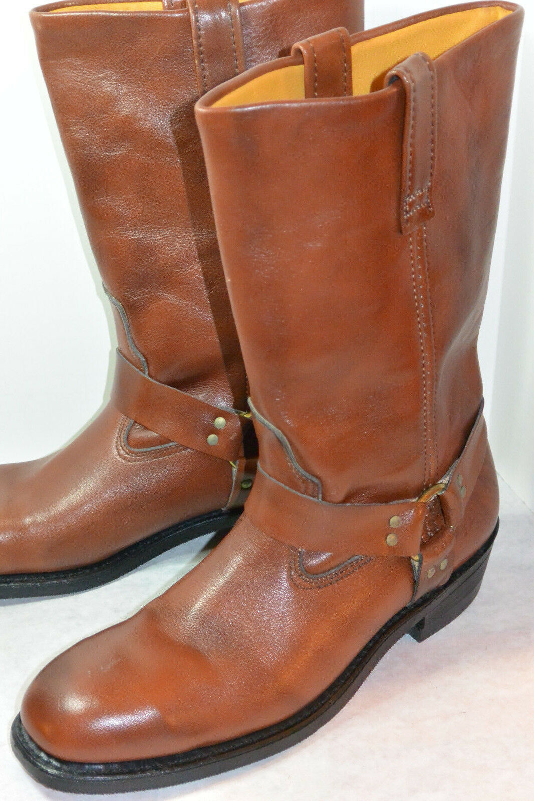 MEN'S UNUSED VINTAGE LEHIGH USA 11  STEEL TOE HARNESS BOOTS  NWT   BROWN  9.5 C