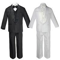 Baby Toddler Teen Boys Wedding Formal Shawl Lapel Suits Tuxedos Black White S-20
