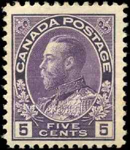 Canada-112-mint-F-VF-OG-H-DG-1922-King-George-V-5c-violet-Admiral-CV-40-00