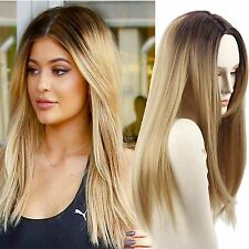Blonde Ombre Wigs Long Straight Synthetic Lace Full Wigs Ombre Dark Roots Women