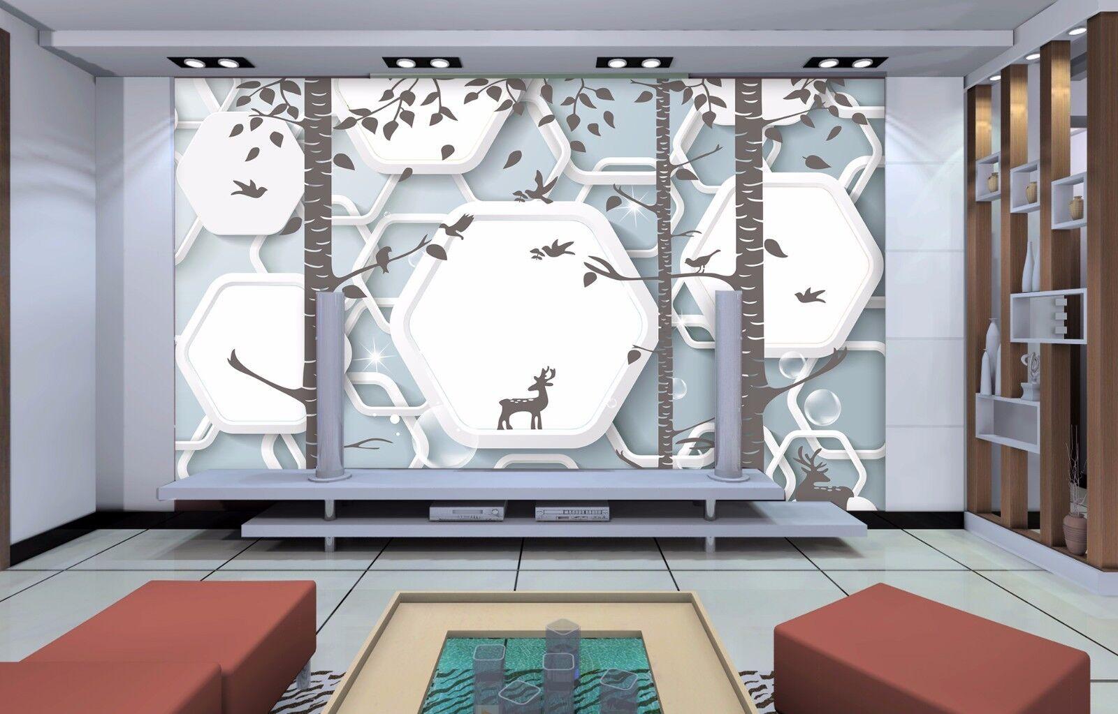 3D White Frame Deers 86 Wall Paper Murals Wall Print Wall Wallpaper Mural AU Kya