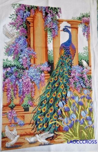 """New finished completed Cross stitch/"""" Beautiful peacock/""""home decor gfits"""