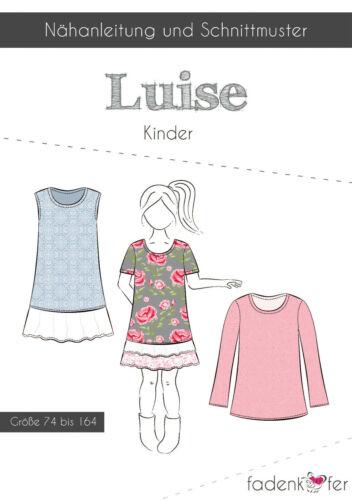 36 74 bis 164  Nr Papierschnittmuster Kleid Luise Kinder von Fadenkäfer Gr