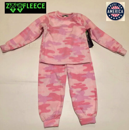 ZooFleece Pink Camouflage Girls Hunt Kids Pajama PJ Sweatsuit Nightgown Fleece
