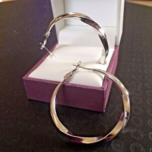 Details About White Gold Hoop Earrings Large 3 6m Diameter With Twisted Effect Plum Uk Boxed