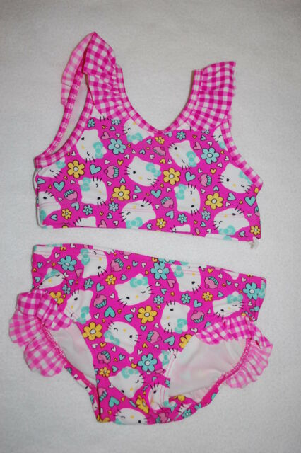c6c7f784dc Toddler Girls Swimsuit HELLO KITTY 2 PC BIKINI SET Cupcakes Flowers Hearts  4T