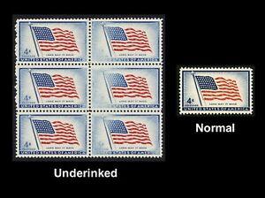 #1094 4c ESTADOS UNIDOS Flag-Block De 6 , Azul Underinked Cualquier 5=