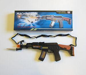 1 NEW TOY MACHINE GUN WITH LIGHTS SOUND & MOVING KNIFE MILTARY ASSAULT RIFLE