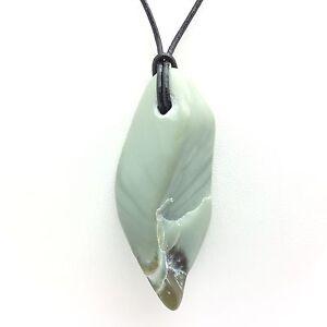 Wyoming Jade Pebble Pendant Sage & Olive Green Nephrite Gem Stone Necklace #17