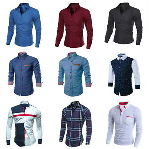 Luxury-Fashion-Men-Slim-Fit-Shirt-Long-Sleeve-Dress-Shirts-Casual-Shirt-Top-LOT