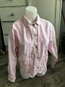 Vintage-Mariposa-Pretty-in-Pink-Jean-Jacket-Lace-Accent-Women-039-s-Size-S-M