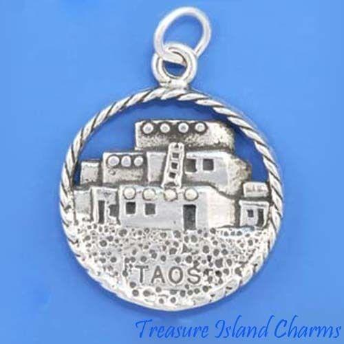 Taos Pueblo Native American New Mexico .925 Solid Sterling Silver Charm Pendentif