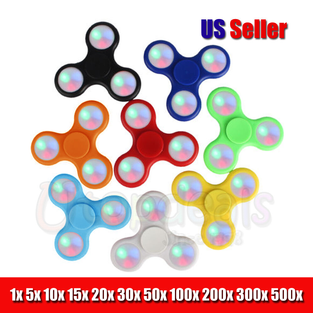 Led Control Hand Spinner Tri Fidget Toy EDC Finger Light Gyro Wholesale Lot