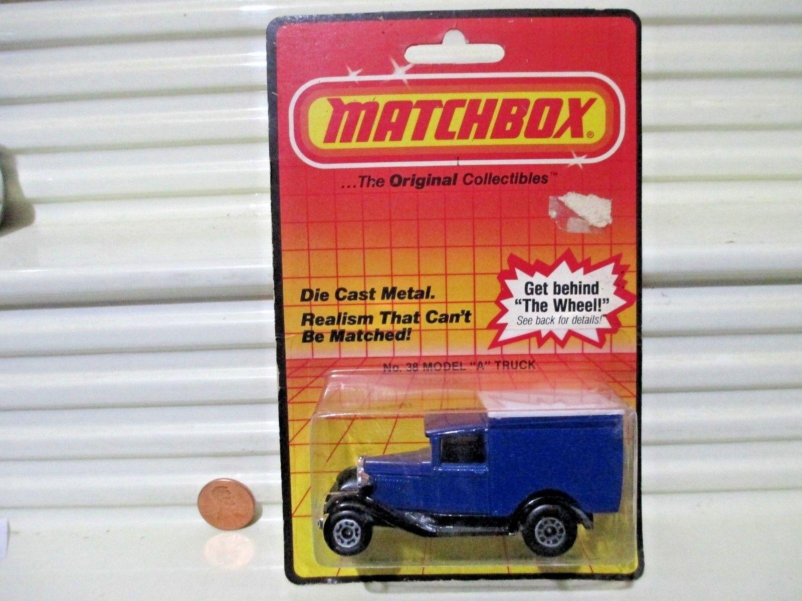 MATCHBOX MB38 1983 Bleu MODEL A FORD VAN vide sans tampo Imprimer Nu dans bubblpk