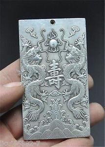 Old-Chinese-tibet-Silver-Two-dragons-longevity-Bullion-thanka-amulet-Pendant