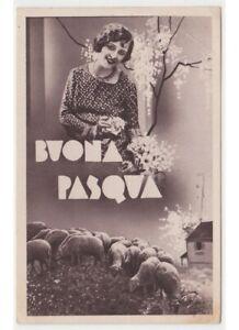 1938-Chica-Wisteria-Ovejas-Al-Pastoreo-Cencerro-Foto-Tarjeta-Postal-Pascua-De