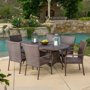 outdoor patio furniture 7pc multibrown all weather wicker round dining