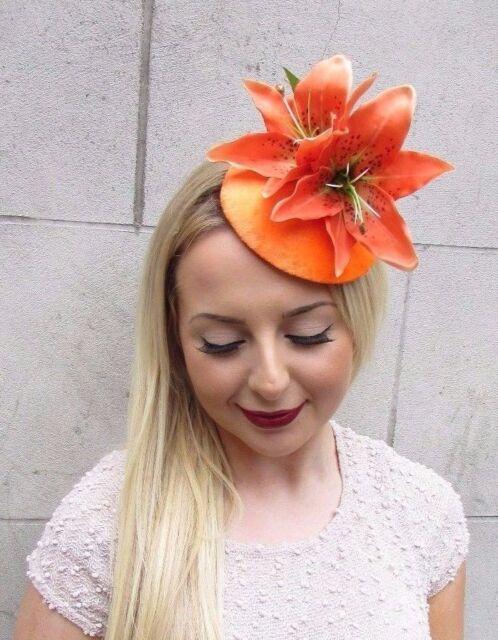 Orange Lily Velvet Fascinator Hat Hair Clip Vintage Races Rockabilly 1950s  2654 a69dcbdc5bc