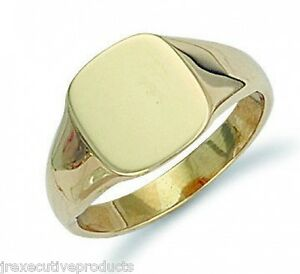 cb5e515770fbd Details about Heavy Gold Signet Ring Men's Yellow Gold Signet Ring Gents  Cushion Signet Ring