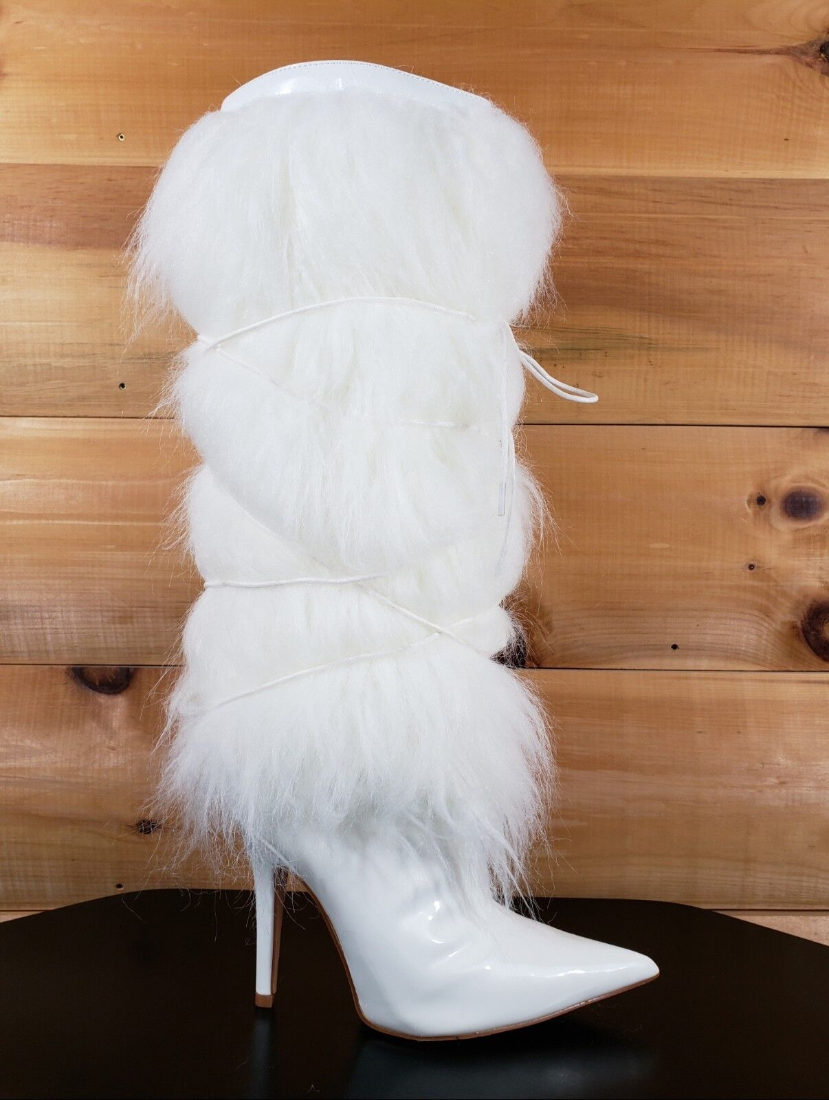 Cape blanc Patent Furry Faux Fur Knee démarrage Pointy Toe  4.5  High Heel  6 - 11