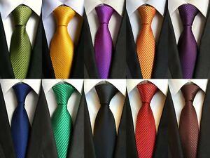 New-Classic-100-Jacquard-Woven-Silk-Solid-Stripes-Pure-Colors-Men-039-s-Tie-Necktie