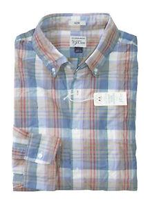 60c729cc20557 Details about J.Crew Men s XS Slim Fit - NWT - Khaki Blue Red Plaid Secret  Wash Shirt