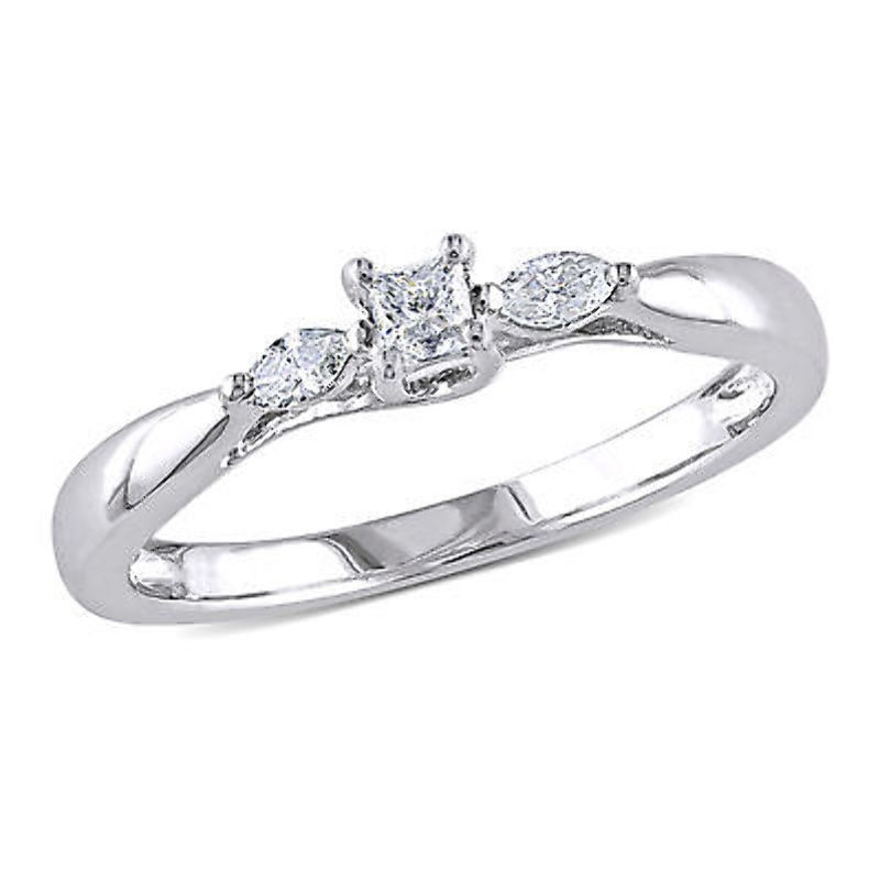 10k White gold 1 4 CT Princess and Marquise Diamonds TW Engagement Ring GH I2-I3