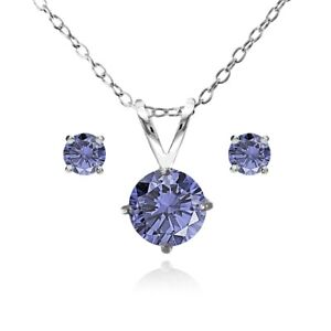 Image Is Loading Round Solitaire Simulated Tanzanite Necklace Amp Stud Earrings