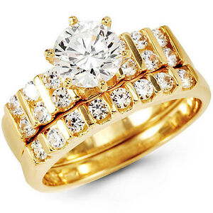 Image Is Loading 14k Yellow Gold Round Channel Set Man Made