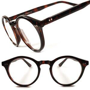 DESIGNER-Schildkroete-Classic-Vintage-Retro-HOT-runde-klare-Linse-Brille-Frames-D24B