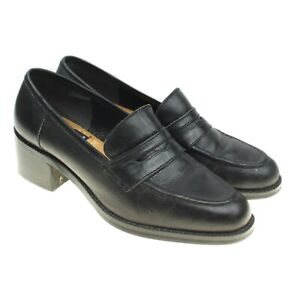Nine West Womens Black Leather Penny Loafers Flats Size 5 ...