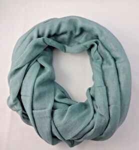 Blue-infinity-scarf-cotton-loop-lightweight-solid-color-Look-by-M