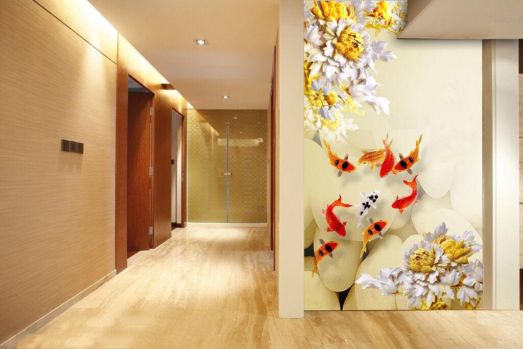 3D Flower Fish 888 Wallpaper Mural Wall Print Wall Wallpaper Murals US Carly