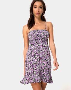 MOTEL-ROCKS-Seldre-Mini-Dress-in-Lilac-Blossom-Small-S-MR38