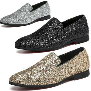 fashion mens glitter casual slip on loafers dress formal