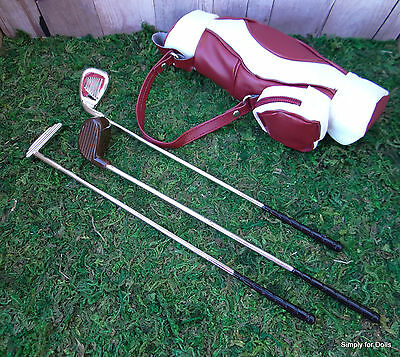 "4pc Burgundy GOLF BAG & CLUBS Golfing SET fits 18"" AMERICAN GIRL Doll Clothes"