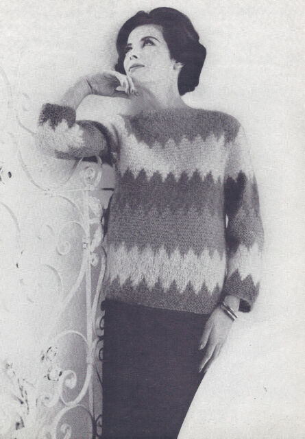Vintage Knitting PATTERN to make 1950s Two Collared Pullover Sweater Mohair 2Pul