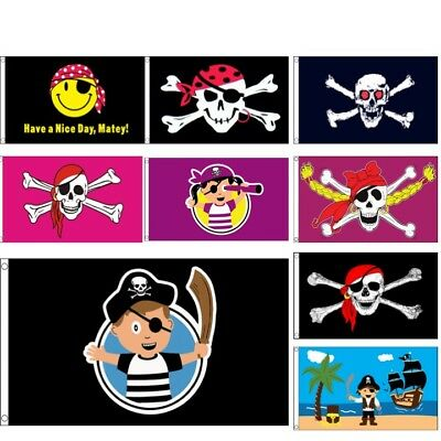 LARGE 5FT X 3FT KIDS PIRATE FLAG BOYS GIRLS PIRATES SKULL PINK PARTY DECORATION