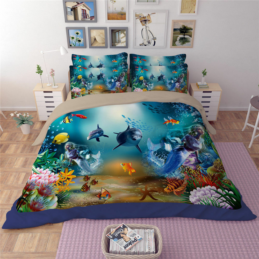 3D Seaworld Mermaid Quilt Cover Bedding Set Dolphin Duvet Cover Pillow Case 3pcs